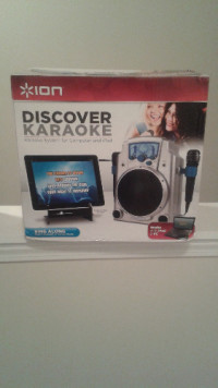ion discover karaoke machine, Musical Instruments, Equipment, brand new unopened Karaoke machine works with iPad and PC two microphones included individual volume control for each mic adjustable echo effects gives vocals professional sound