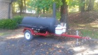 smoker trailer, Other, pull behind smoker with two propane burners on the side, wood chip tray, sliding racks and side opening shelfs