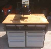 """CRAFTSMAN 10"""" RADIAL ARM SAW W/CABINET, Craftsman 10"""" Radial Arm Saw with attached 6-drawer tool cabinet. The cabinet has leveling/locking feet and is on casters. This saw was used very little and is in excellent condition., Gently used"""