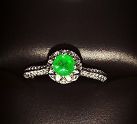 Emerald and Diamond Ring, Jewelry, 14kt White Gold, Genuine Emerald and Diamond Ring, Size 7, 14kt White Gold, Genuine Round Emerald tw .65kts and Diamonds tw .20kts. Very clean. Owned 4 months, immaculate condition!!