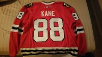 """Authentic Patrick Kane Jersey, Other, This is a rare Patrick Kane Jersey as it is not only authentic with the """"fighting strap"""", it also has the WWW patch on the front of the jersey. The patch was a tribute to the late owner of the Chicago Blackhawks."""
