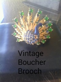 Vintage Boucher peacock Ruby sapphire emerald Brooch, Jewelry, Ruby sapphire and emerald, Vintage Boucher peacock ruby emerald and sapphire brooch