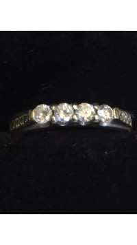 Custom made wedding band with 4 Brilliant Cut Round Diamonds at, Jewelry,  Custom made wedding band with 4 Brilliant Cut Round Diamonds at,  Custom made wedding band with 4 Brilliant Cut Round Diamonds at .40ct TW & 10 Brilliant Cut Round Diamonds at .20ct TW set in 14kt White Gold. Appraised at $1,350