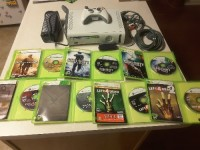 """X Box 360 with Accessories , Microsoft, Xbox 360 Console, 2008, Xbox 360 Console is in great condition, has never had the """"red ring of death,"""" 60GB HDD, All cables provided, 1 x controller, 1 Xbox 360 wireless Networking Adapter from Microsoft,  7 games with original box and instructions: Left4Dead 1and 2, Halo Reach, Gears of War 2, Call of Duty Black Ops, Call of Duty World at War, Call of Duty Modern Warfare 2."""
