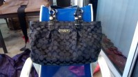 "Coach Purse, Designer Wear & Handbags, Black signature coach purse with clean blue lining inside. Left to right 14"".... Top to bottom 9"" width 5"". Slightly used but in great condition"