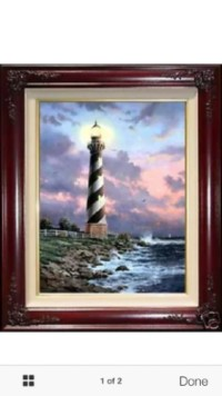 Thomas Kinkade Cape Hatteras lighthouse painting, Antique, Collectible, Thomas Kinkade Cape Hatteras lighthouse painting, The painting signed and has certificate