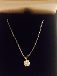 Diamond pendant, Precious Metal or Stones, Gem - diamond, weight .75 carat, cut BrR, F/G - SI1, White gold setting and chain