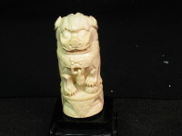 foo dog ivory carvings, set of two foo dog ivory carvings, Like new