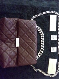Stella McCartney Quilted Flap Bag (Brown), Designer Wear & Handbags, Brown, Vegan, Stella McCartney Flap Bag with chain tote and shoulder strap.