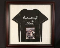 signed sopranos shirt, Other, Bad a Bing club shirt signed by Tony Uncle Junior Ralph and silvio. And paulie. Framed black shirt on black. Size 34x39 I had trouble taking the picture the picture is from online. Mine is the same with black background and silver frsme