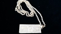 10kt rope chain and minI pendant, Jewelry, 6.7 grams, Diamond cut rope chain with million dollar pendant bar