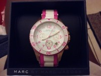 marc jacobs watch, Luxury Watch, marc Jacobs , Marc jacobs pink and white watch still in box with tags and maintance book