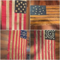 four antique american flags, Antique, Collectible, I have four antique american flags. These were inherited almost two years ago, and have been untouched in our basement storage ever since. They are quite stunning in person.                                                                                       The first flag dates Civil War era, or possibly earlier with thirteen stars and nine stripes. It is 43in x 32in and constructed from a wool blend fabric.                                           The second flag dates Civil War era(late 1860's) with thirteen stars and thirteen stripes. It is 50in x 30in and constructed from a weathered canvas material.                             The third flag dates early Civil War era with thirty four stars and thirteen stripes. It is 32in x 52in and constructed from 100% cotton.                                     The fourth flag dates to the 1820's era with 21 stars and thirteen stripes. It is 4ft x 6ft and constructed from a wool blend fabric. Please let me know if you would like to see more pictures or have any additional questions. Unfortunately I can only download one picture, I did my best to fit them all in! Thank you!
