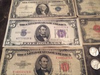 Coin, Antique, Collectible, 1881 One dollar coin, 1937 Dimes, 1957 one dollar bill with blue seal, 1934 five dollar bill with blue seal, 1928 & 1963 two dollar bill with red seal and 1953 five dollar bill with red seal.