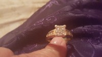 Engagement ring, Jewelry, .5 diamond gold ring , Gold diamond ring princess cut 4 center diamond with diamond on both sides of shank of ring.