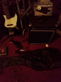Bass with bass amp, Musical Instruments, Equipment, I have a Huntington Jazz bass with a acoustic bass amp. The Bass is a beautiful black and white full scale fender jazz bass copy and my amp is a acoustic bass amp. The bass will have the gig bag, extra bass strings and shoulder strap included.