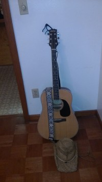 guitar, Musical Instruments, Equipment, Mitchell M.D. 100 1 week old still have receipt with black nylon carry case and capo and strap
