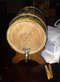 Bacardi rum barrel, Antique, Collectible, Bacardi rum barrel made in the 1930s with brass spigot and original stand