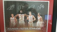 Autographed Framed by NBA players , Antique, Collectible, Autographed Framed by NBA players James Harden, Jeremy Lin, Omer Asik and Chandler Parson