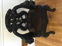 1900's Hand carved japanese chippendale chair, Antique, Collectible, 1900's Hand carved japanese chippendale chair been in the family since 1890.