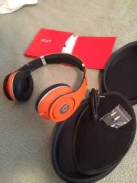 Beats By Dre - Studios, A pair of Orange Studio Beats by Dre, wired. They are in great working condition,, Like new