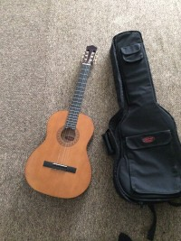 Guitar, Acoustic wood grain guitar w/ soft case, Like new