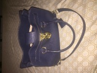 Navy Michael Kors Hamilton Saffiano Leather Medium Satchel, Designer Wear & Handbags, Navy blue Michael Kors Hamilton Saffiano leather satchel. Less than a year old. Gently worn. Still in great shape and very fashionable.