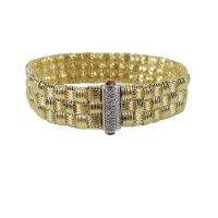 Roberto Coin gold Appassionata gold bracelet, Jewelry, Roberto Coin Appassionata bracelet, Roberto Coin Appassionata 7 inch bracelet textured three rows of yellow gold with diamond clasp of .22TCW.