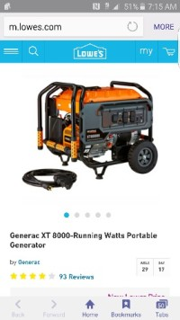 Generator , Tools, Equipment, Generac XT 8000-Running Watts Portable Generator