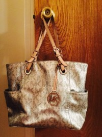 Michael Kors Handbag, Designer Wear & Handbags, Silver optic handbag tote with matching wristlet. Great condition professional cleaned. Retail together almost $500