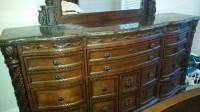 Ashley bedroom set, Other, Ashley bedroom set,Queen size bed with marble dresser with mirror and nightstand