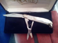 case knife pearl handle, 8220R SC. SS.    Folding knife pearl handle ,one blade & one pair of scissors, Gently used