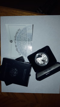 1996-P proof 1 ounce silver bullion American Eagle coin, Other, 1996-P proof 1 ounce silver bullion American Eagle coin,  with felt case and box, and letter of authenticity