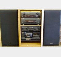 Home stereo system , Electronics, Sony, 2005, Black stereo with speakers, cd player.
