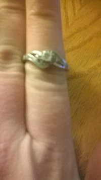 1/10 diamond ring, Jewelry, 1/10 carat diamond ring, Lightly used promise ring sliver with 15 small diamonds