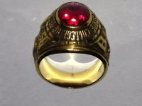 College ring, Jewelry, 24 grams of 18 K gold & highest synthetic grade red ruby, College 18K gold ruby ring, Belfour mfg.
