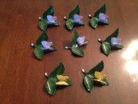 Herend Placecard Holders Butterfly, Antique, Collectible, Herend Placecards Holders for dining table.  Four blue Butterfly on leaf pattern and two Yellow Butterfly on leaf pattern