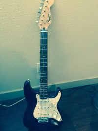 Guitar, Musical Instruments, Equipment, 2003 Fender Squier Bullet.  Originally given as a gift with Sammy Hagar's autograph.  I've searched on line to try and match the signature with no success.  There are two many variations of Sammy's signature.