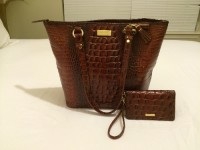Brahmin designer handbag, Designer Wear & Handbags, Excellent condition Brahmin handbag color:chocolate snakeskin with matching excellent condition wallet. Dust bag included