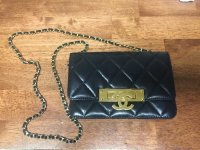 Chanel gold class wallet on a chain , Designer Wear & Handbags, Chanel gold class wallet on a chain great condition 100% authentic. has hologram sticker inside for authenticity. retain for $3000