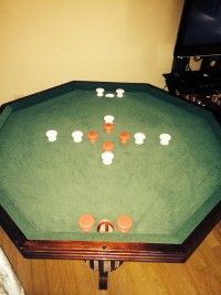 Bumper pool table, Solid wood with card table or wood top, Like new