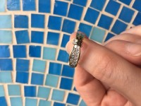 Diamond rings, 14kt gold, diamonds 1ct total, SI1 G color, Custom-made ring with 2 rows of princess cut diamonds, total diamond weight 1 ct and 14kt yellow gold