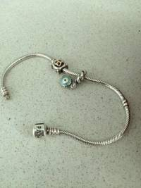 PANDORA Bracelet with 2 Charms, Sterling Silver Pandora Bracelet with 2 charms like new, Like new