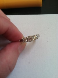 3 diamond anniversary ring, 3 diamond anniversary band approximate .5 carot middle diamond and .25on either side, Like new