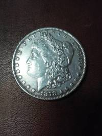 Morgan Silver Dollar, 1878 Morgan Silver Dollar with cc stamp on it. , Like new