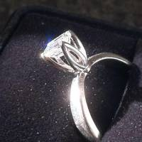 1/2 Carat Engagement Ring, 14 K white gold Emerald Cut Solitaire Engagement Ring weight is .55 carat Diamond like new, Like new