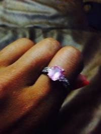 pink Sapphire and diamond ring , Size 9. pink Sapphire and diamond white gold ring like new, Like new