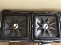 2 15 inch L7s with two 2600 watt amps, Gently used Two 15 inch L7s in box with two 2600 watt boss amps for each sub with power wire and adapter to hook both amps up and bass knobs., Gently used
