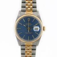 Rolex 18K & Stainless Datejust, Rolex Men's stainless steel and yellow gold Datejust with blue face features an 18 Kt yellow gold Like new, Like new