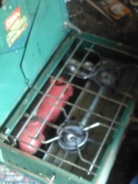 a old propane or gas camp stove top or burner, Do not know the year